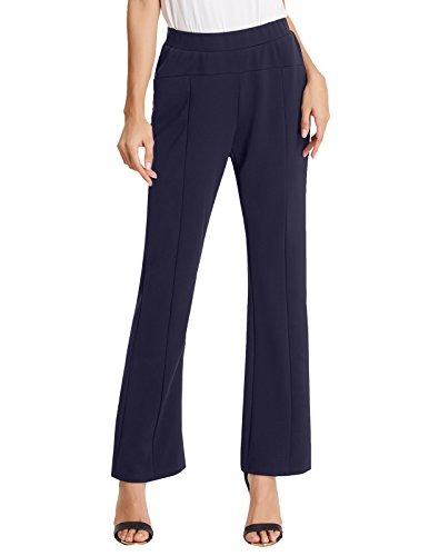 Kate Kasin Womens Elastic Straight Leg Bootcut Trousers Pants L KKAF1018-2 by Kate Kasin