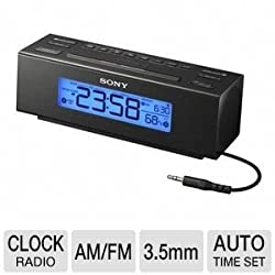 Sony Compact Digital AM/FM Dual Alarm Clock Radio with Large LED Display & Brightness Control, Built-In Nature Sounds And Room Temperature Display, Dual 2-5-7 Day Alarms For Wake-Up Flexibility, Built-in 3.5mm Audio Cable, Extendable Snooze, & Built-in