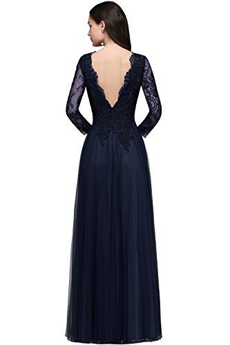 Abendkleider Ballkleider Maxilang Ausschnitt Brautmutterkleider Langarm Damen Spitzen Elegant Navyblau MisShow Tüll V Rtvxz