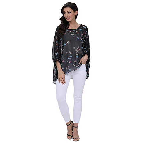Women's Floral Print Batwing Sleeve Chiffon Poncho Blouse Summer Tunic Tops Tronet Casual Summer Tops for Women 2019