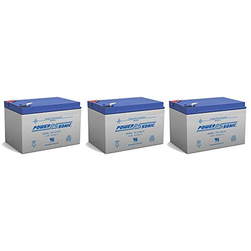 - Power-Sonic 12V 12AH w/ F2 Terminal Compatible SLA Battery Replacement for WP12-12E - 3 Pack