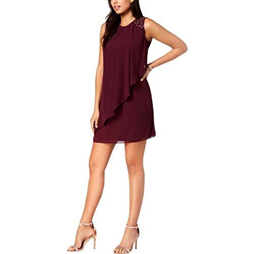 - Jessica Howard Womens Petites Chiffon Embellished Cocktail Dress Purple 10P