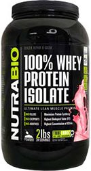 Concentrate Strawberry (NutraBio 100% Whey Protein Isolate - Wild Strawberry – NO Soy, NO Whey Concentrate, NO Amino Acid Spiking just 100% Pure WPI, 2 Pound)