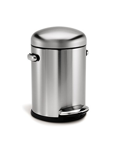 simplehuman Round Retro Step Trash Can, Stainless Steel, 4.5 L / 1.2 Gal