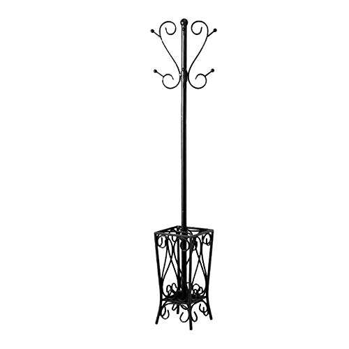 Metal Scroll Hall Tree - 69 Inch Coat Rack Iron Black Stand Eight Scroll Hooks Entry Living Room Hall Tree Vintage Decorative Corner Jacket Umbrella Hat Bag Hanger & eBook by JEFSHOP