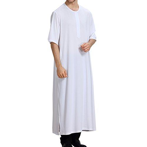 Xinvision Half Saudi Color Dubai Kandoura Robe Muslim Clothing Pure Ethnic Pakistan Thobe Arabia White Abaya Hindu Islamic Neck Men's TH807 Jewish Sleeve Round Dishdasha xtqYrF70wt