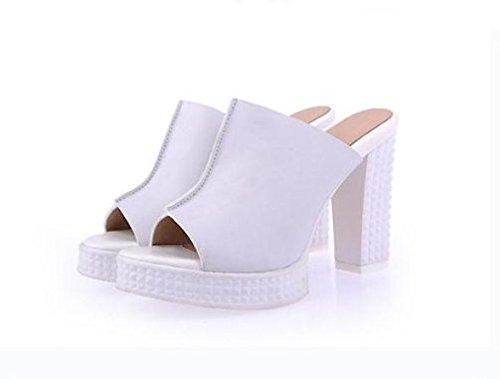 blanc 7.5 US 38 EU 5 UK SCLOTHS été Tongs Femme Chaussures D'épaisseur avec étanche haut talon