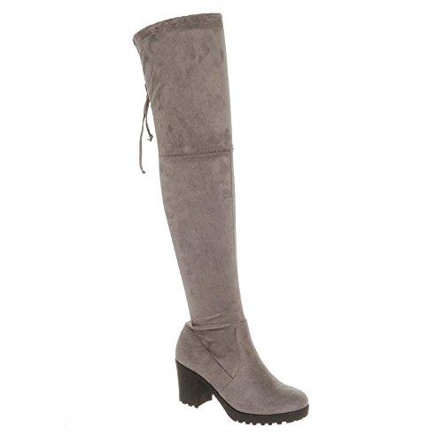 Miss Shoes Femme Suedette Compensées Sandales Grey Diva SSqrw58