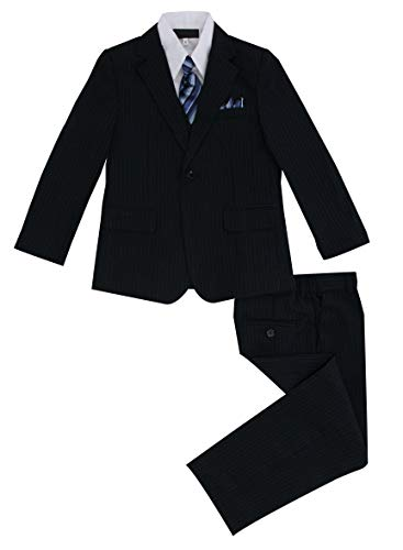 Luca Gabriel Toddler Boys' 5 Piece Navy Pinstripe Suit Handkerchief Set - 2t