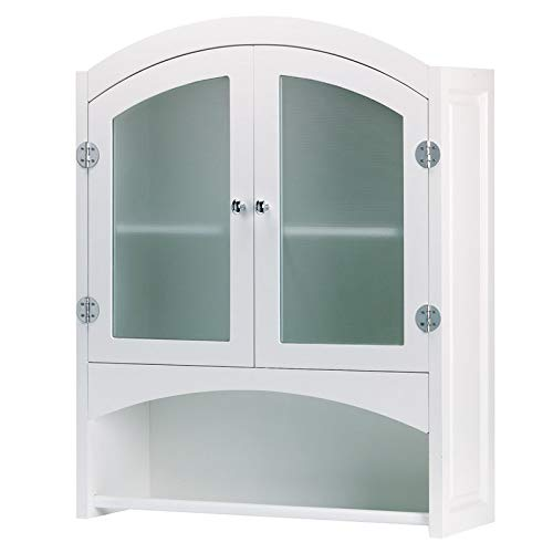 """Wood Storage Cabinet with Frosted Glass Accents - 30.5"""" H Wall Mounted Cabinet with Double Door Design - White"""