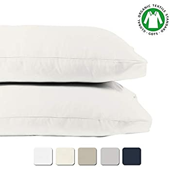 BIOWEAVES 100% Organic Cotton King Pillow Cases 300 Thread Count Soft Sateen Weave GOTS Certified - King Size, Set of 2, White