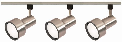 Nuvo Lighting TK340 3-Light R30/PAR30 Longneck Step Cylinder Track Light Kit, Brushed Nickel