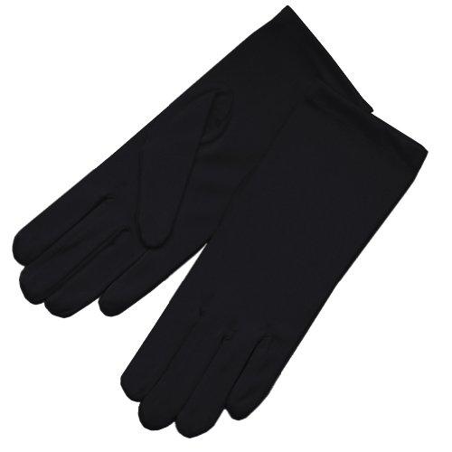 Black Satin Finish (ZaZa Bridal 4-Way Stretch Matte Finish Satin Dress Gloves Wrist Length 2BL-Black)