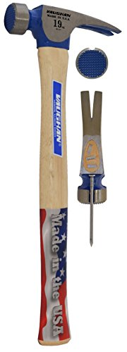 Vaughan CF2 19-Ounce California Framer, Milled Face, Straight White Hickory Handle, 16-Inch Long - Hammer Setting