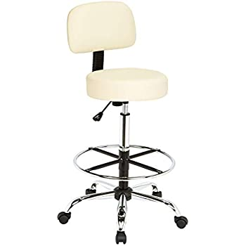 Bar Rolling Chair Cafe Drafting Stool With Wheels Height Adjustable Swivel Beige