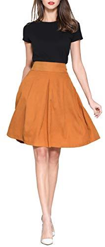 Womens High Waist Pleated Midi Skirts, Aline Vintage Knee Length Elastic Waist Skirt with Pockets Camel S