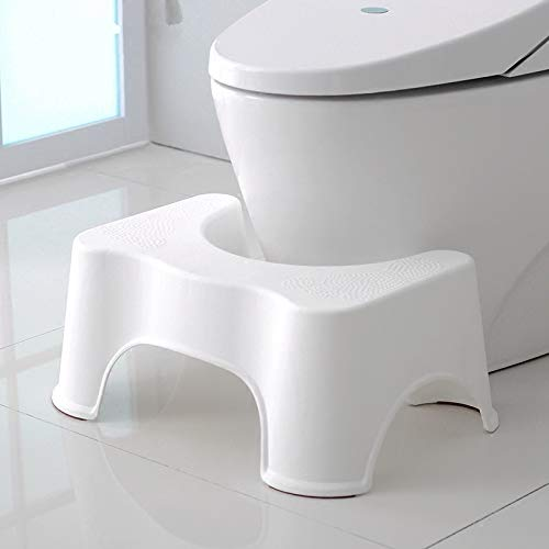 Super Durable Toilet Stool - Great for Potty Training, Bathroom. Perfect for Your House (White)