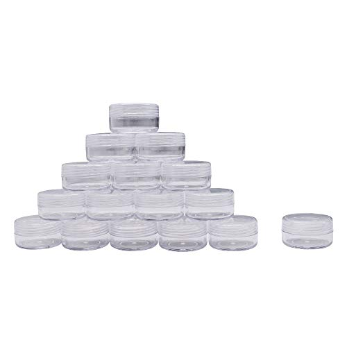 (50 Pieces 10 Gram Empty Plastic Cosmetic Containers, Clear Round Sample Pot Jar Screw Cap Lid, For Lip Balm, Eye Shadow, Nail Powder, Creams, Lotions-BPA)