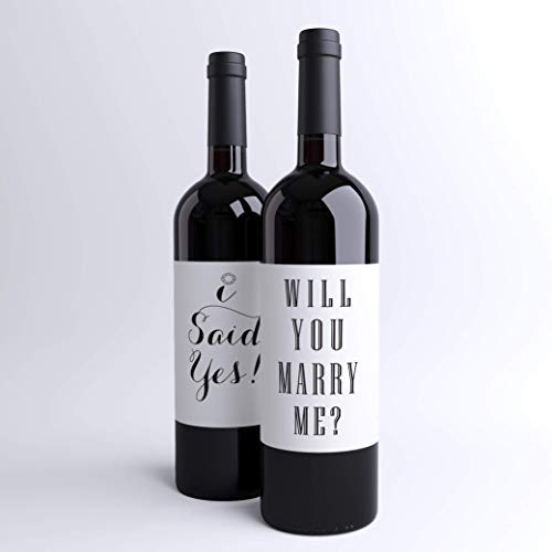 Amazon Com Proposal Wine Labels Will You Marry Me I Said Yes Set Of 2 Wine Bottle Labels Peel And Stick Engagement Ideas Handmade