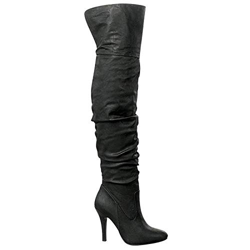Forever Link Womens Focus-33 Fashion Stylish Pull On Over Knee High Sexy Boots,Black,8.5