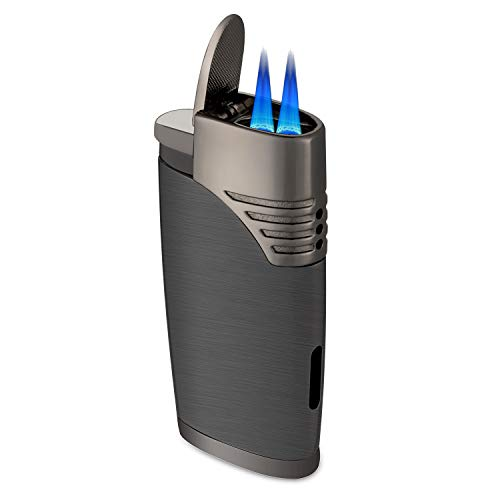 - ZGAR Torch Cigar Lighter, 2 Jet Flame Butane Refillable Cigar Lighter with Punch, Gunmetal Gray