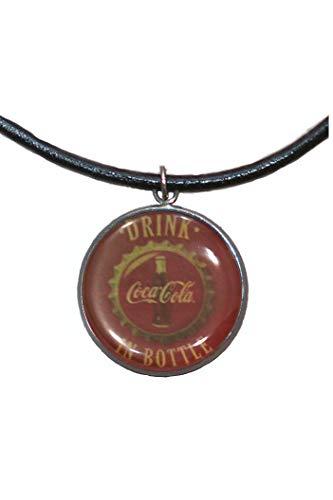 Stainless Steel Pendant, 30mm, Leather Cord, Handmade, Illustration Coca-Cola Vintage ()