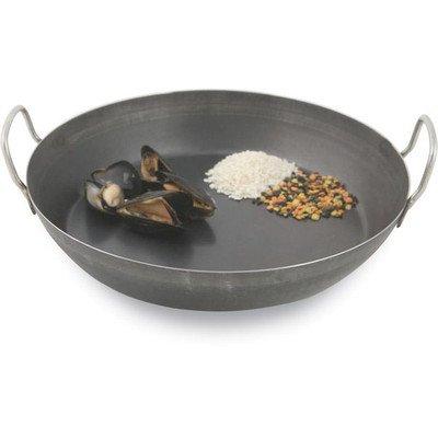 (World Cuisine 502120 Black Steel Paella Pan With Dual Handles, H: 1 5/8 In Dia: 7 7/8 In - 2 per case)