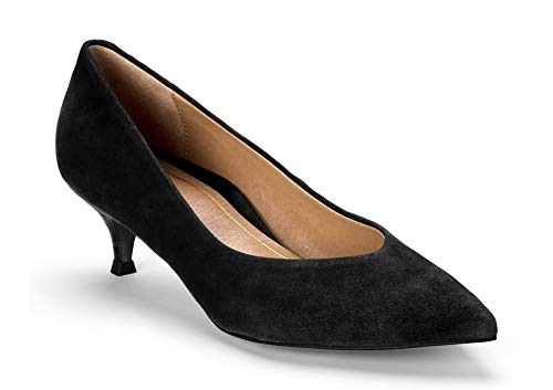 Vionic Women's Kit Josie Kitten Heels - Ladies Pumps with Concealed Orthotic Arch Support Black Suede 7.5 W US