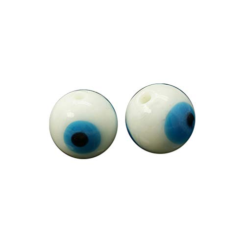 NBEADS 200 Pcs White Evil Eye Lampwork Glass Beads Round Handmade Charm Beads Spacer Beads of Jewelry Findings for Bracelet, Necklace -