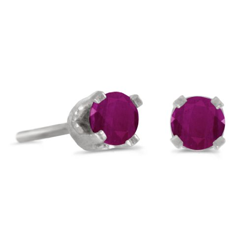(3 mm Petite Round Genuine Ruby Stud Earrings in 14k White Gold)