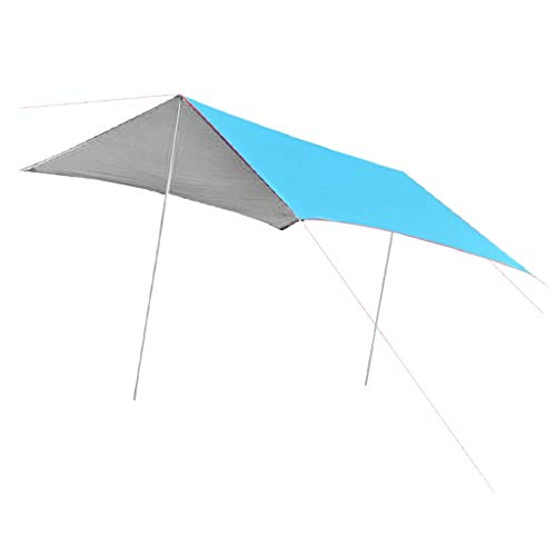 Prettyia Camping Rain Fly Awning Cover Sun Shade Tent Tarp with Stakes Pegs Guyline Ropes - Blue