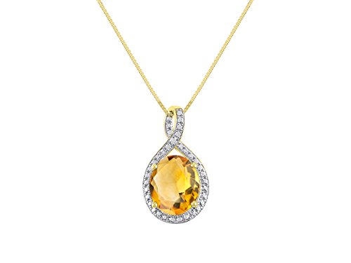 Gorgeous 12x10 Oval Citrine & Diamond Pendant set in Sterling Silver with 18