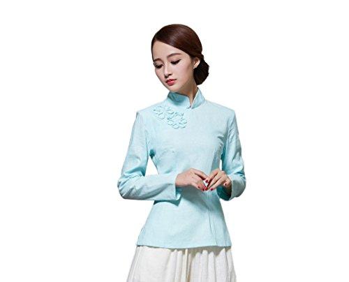 Veste Plusieurs Devant pour Tang Couleurs Longue Chinoise Manche Blouse Fleur Style Rtro Claire ACVIP Chemise Femme Bleu de 54qxpBfw6