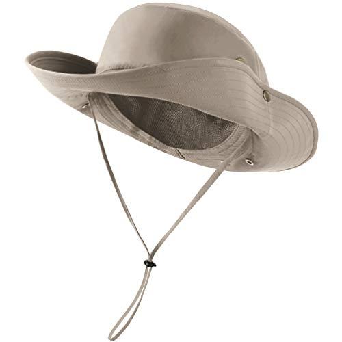 Sun Hat for Men Women Summer Outdoor Sun Protection Wide Brim Bucket Hat Breathable Mesh Fishing Hiking Beach Golf Hat (Khaki)