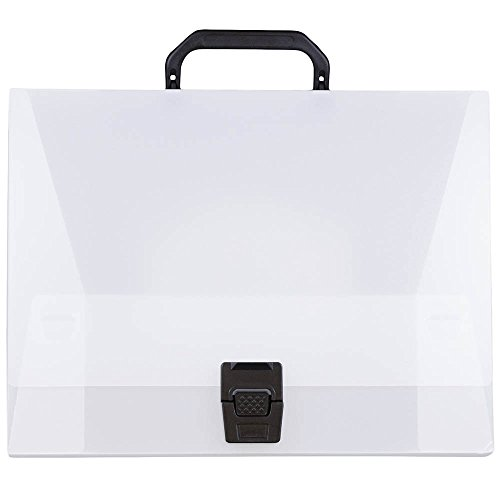 JAM PAPER Plastic Portfolio Briefcase with Handles - Wide - 12 3/4 x 9 1/2 x 3 - Clear - Sold Individually