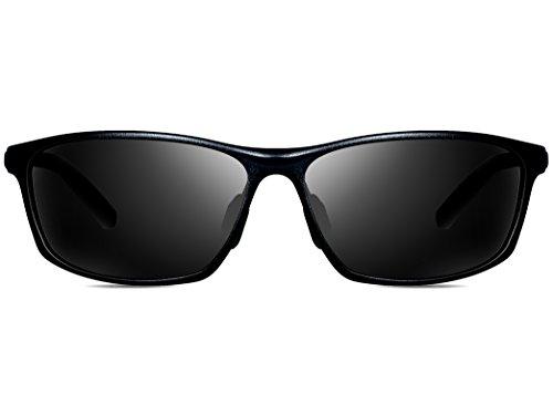 ATTCL Hommes Lunettes de soleil Polarisé Al-Mg métal Cadre ultra léger Noir