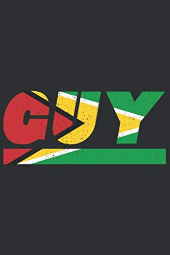 GUY: Guyana notebook with lined 120 pages in white. College ruled memo book with the guyana flag (In Christmas Georgetown)