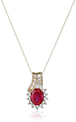 10k Yellow Gold Created Ruby and Created White Sapphire Pendant Necklace, 18