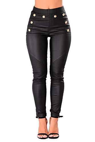 Kelice Femmes Pantalons Taille Haute Bouton Up PU Patchwork Bodycon Jeans Noir