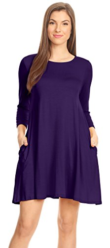 Purple Tee Shirt Dress for Women Plum 3/4 Sleeve Casual Everyday Dress Regular and Plus Size A Line Dress (Size Medium, Eggplant 3/4 Sleeve)]()