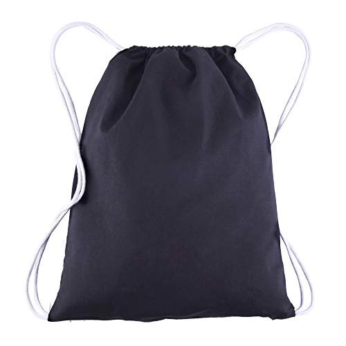 BagzDepot 100% Cotton Budget Friendly Sport Drawstring Bag Cinch Packs, Black, 12 Piece