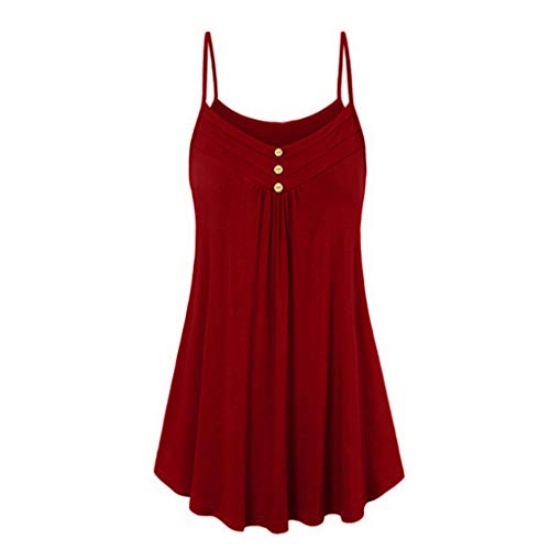 iPOGP Women Sleeveless Pleated Spaghetti Strap Double Breasted Plain Shift Soild Dress(Wine Red,S)