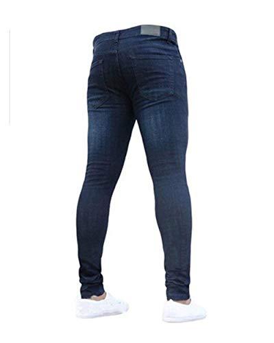 Básicos Los De Pantalones Estilo Cómodo Dunkelblau Fit Vaqueros Regular Ssiger Slim Elástica Battercake Mezclilla Hombres Casuales twgXqq