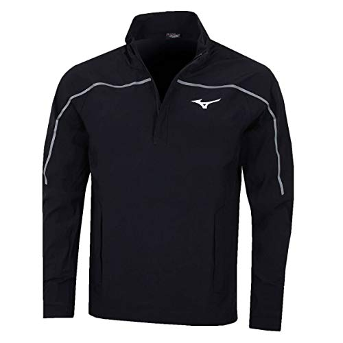 (Mizuno Golf Mens Pro 1/4 Rain Jacket - US XXL - Black)