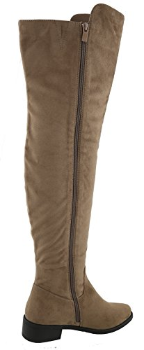 Knee Over Toe the Moda Round Women's Heel Low Taupe Top Closed Zipper Boot qvSRB8w