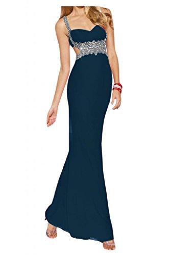 Por la noche de la moda nupcial de la Toscana Rueckenfrei por la noche vestidos de gasa dos-Traeger bola vestidos de fiesta a largo Tinte Blau