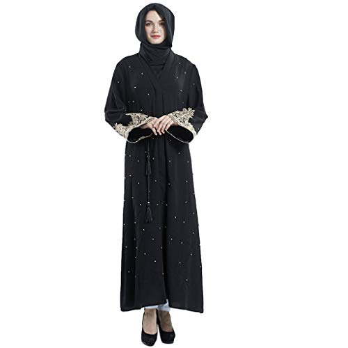 Close-dole Women's Loose Elegant Muslim Women's Cardigan Robes Embroidered Handmade Beaded Dress Abaya Islamic Clothing Black