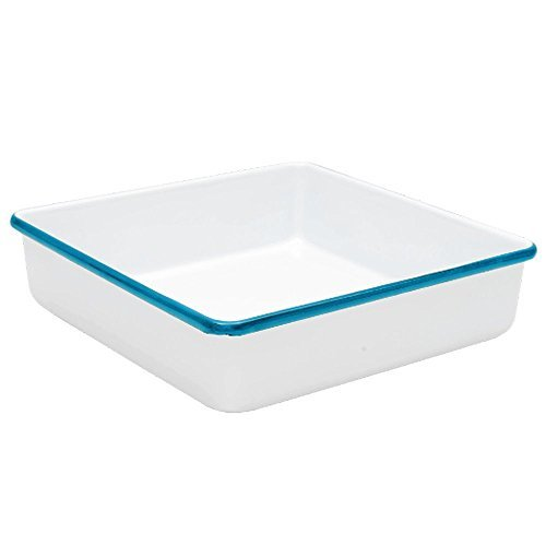 Enamelware Square Brownie Pan, 9 inch, Vintage White/Turquoise -