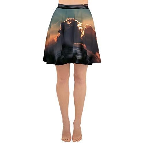 Sunrise Skirt (Womens Skater Skirt Flared Cut Casual Skirt Cloudy Sunrise All Over Print)
