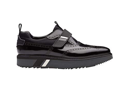 (Prada Men's Spazzolato Leather Platform Brogue Creeper Derby, Nero (Black) 2EG234 (9.5 US / 8.5 UK))
